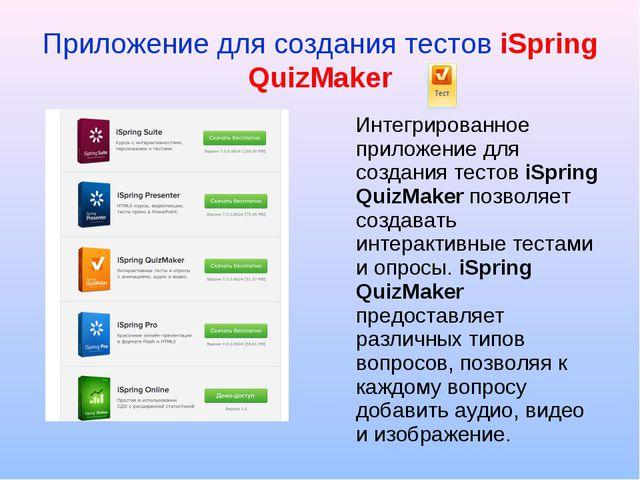 Приложение для создания тестов iSpring QuizMaker Интегрированное приложение д...