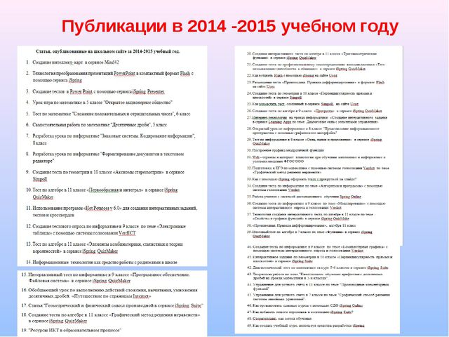 Публикации в 2014 -2015 учебном году