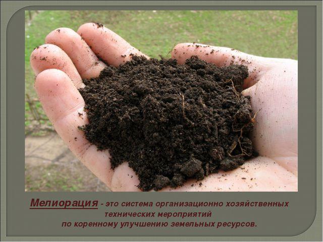 Мелиорация - это система организационно хозяйственных технических мероприятий...