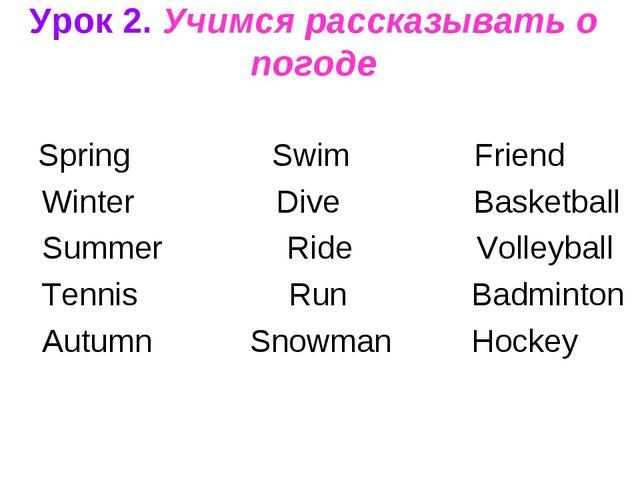 Урок 2. Учимся рассказывать о погоде Spring Swim Friend Winter Dive Basketba...