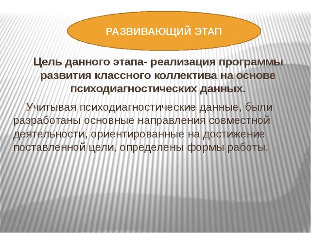РАЗВИВАЮЩИЙ ЭТАП Цель данного этапа- реализация программы развития классного...