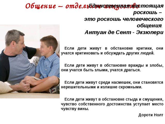 Общение – отдельное искусство    Если дети живут в обстановке критики...