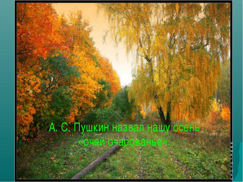 А. С. Пушкин назвал нашу осень «очей очарованье».