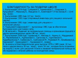 БЛАГОДАРНОСТЬ ЗА ПОДАРКИ ШКОЛЕ 1. Выпускникам 1979 года: Тулеуовой А., Курма