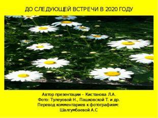 ДО СЛЕДУЮЩЕЙ ВСТРЕЧИ В 2020 ГОДУ Автор презентации – Кистанова Л.А. Фото: Тул