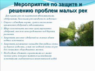 Мероприятия по защите и решению проблем малых рек Для охраны рек от загрязнен