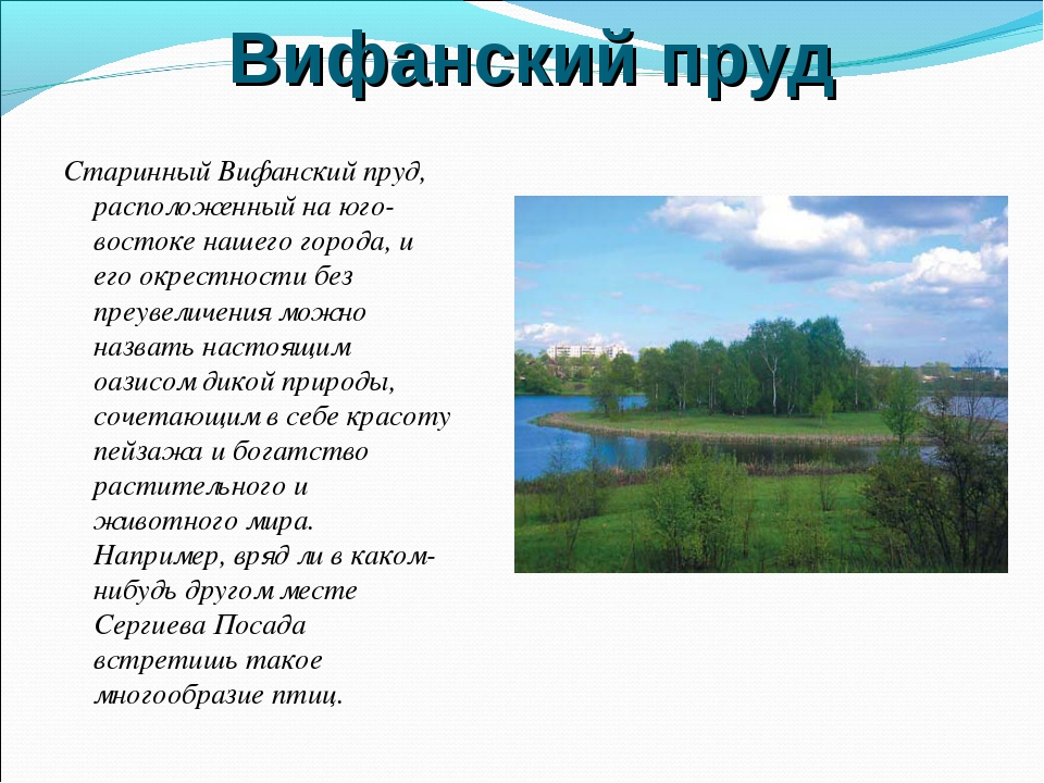 Вифанский пруд Старинный Вифанский пруд, расположенный на юго-востоке нашего...