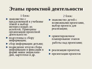 Этапы проектной деятельности: 1 блок: знакомство с предложенной в учебнике те