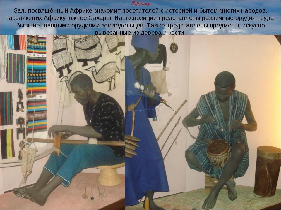 Африка Зал, посвящённый Африке знакомит посетителей с историей и бытом многих...