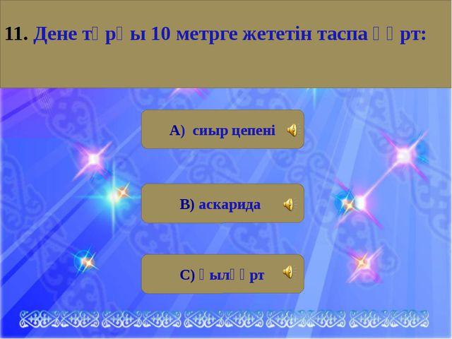 А) сиыр цепені В) аскарида С) қылқұрт 11. Дене тұрқы 10 метрге жететін таспа...