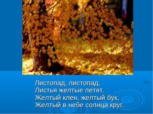 Листопад, листопад, Листья желтые летят. Желтый клен, желтый бук, Желт