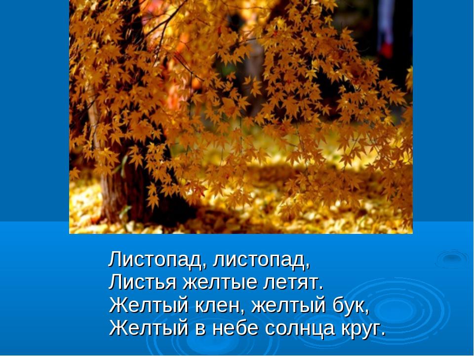 Листопад, листопад, Листья желтые летят. Желтый клен, желтый бук, Желт...