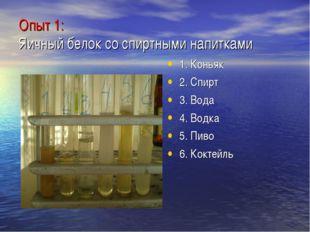 Опыт 1: Яичный белок со спиртными напитками 1. Коньяк 2. Спирт 3. Вода 4. Вод
