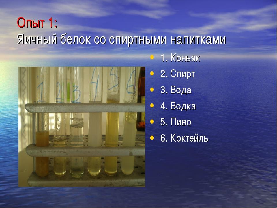 Опыт 1: Яичный белок со спиртными напитками 1. Коньяк 2. Спирт 3. Вода 4. Вод...