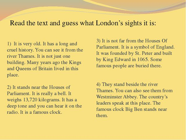 Read the text and guess what London's sights it is: 1) It is very old. It ha...