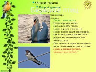 Птицы – наши друзья. Нельзя стрелять в птиц. Нельзя разорять гнезда. Нужно к