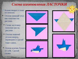 Схема изготовления ЛАСТОЧКИ Возьми квадрат и сложи его пополам. Отогни нижний