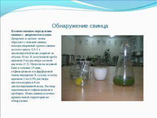 Обнаружение свинца Количественное определение свинца с дихроматом калия. Дихр