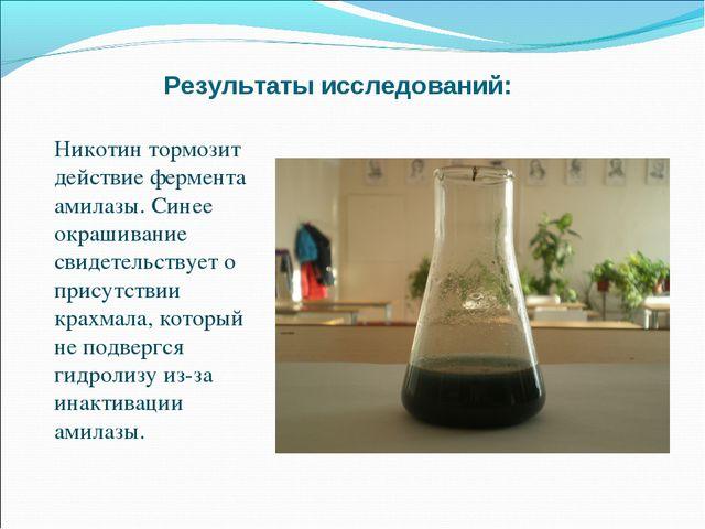 Результаты исследований: Никотин тормозит действие фермента амилазы. Синее ок...