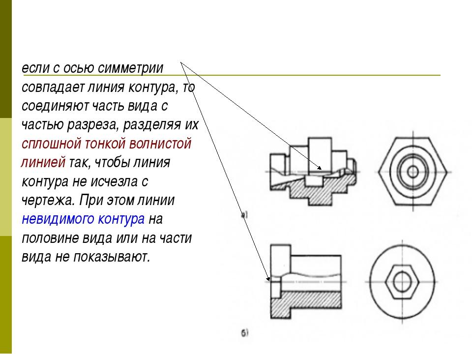 если с осью симметрии совпадает линия контура, то соединяют часть вида с час...