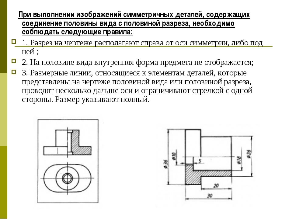 При выполнении изображений симметричных деталей, содержащих соединение полов...