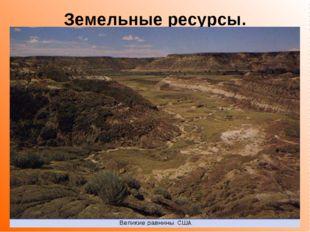Земельные ресурсы. В центральной части находятся прерии с плодородными черноз