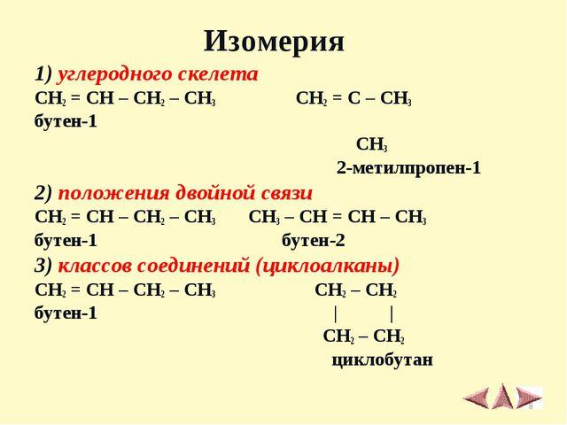 1) углеродного скелета CH2 = CH – CH2 – CH3 CH2 = C – CH3 бутен-1 ׀ CH3 2-ме...