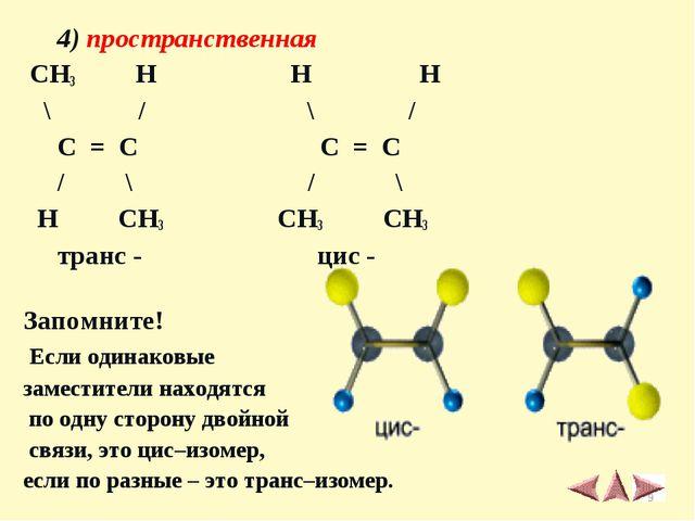 4) пространственная CH3 H H H \ / \ / C = C C = C / \ / \ H CH3 CH3 CH3 тран...