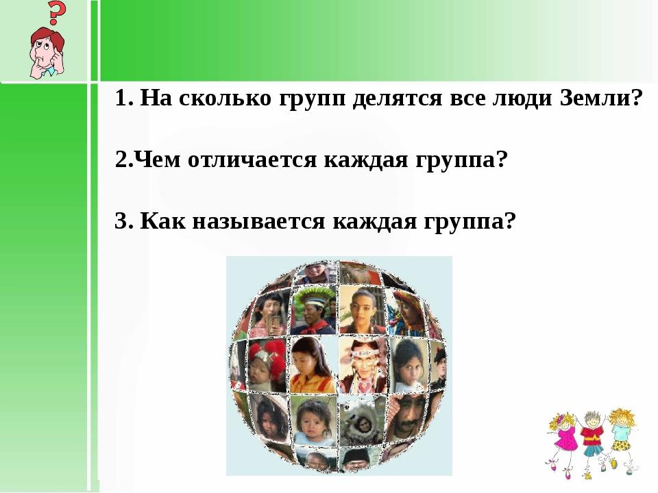 1. На сколько групп делятся все люди Земли? 2.Чем отличается каждая группа?...