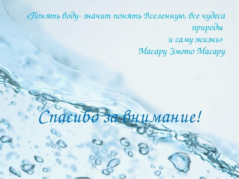 «Понять воду- значит понять Вселенную, все чудеса природы и саму жизнь» Масар...
