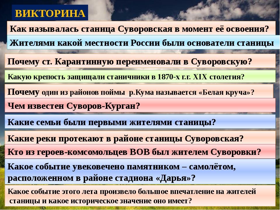 ВИКТОРИНА Как называлась станица Суворовская в момент её освоения? Жителями к...