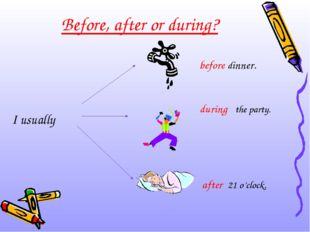 Before, after or during? I usually before dinner. during the party. after 21
