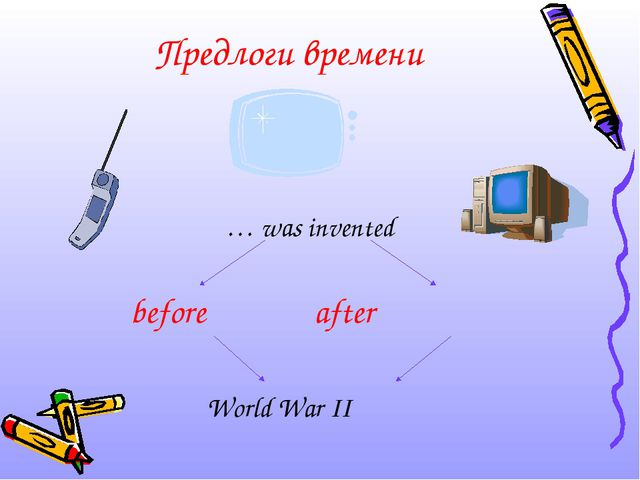 Предлоги времени … was invented before after World War II