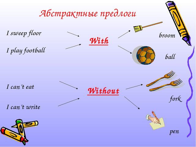 Абстрактные предлоги I sweep floor I play football I can't eat I can't write...