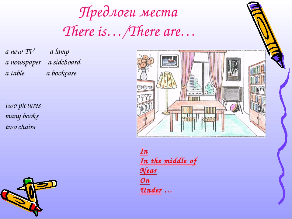 Предлоги места There is…/There are… a new TV a lamp a newspaper a sideboard a...