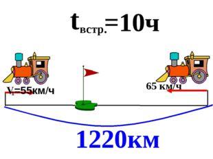 1220км t встр. =10ч 65 км/ч 1 V=55км/ч Из двух городов, расстояние между кот