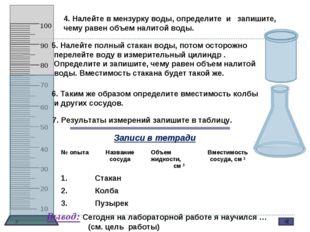 4. Налейте в мензурку воды, определите и запишите, чему равен объем налитой в