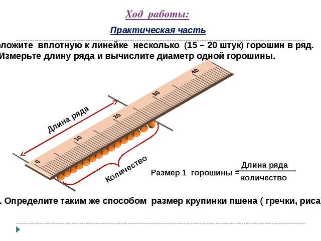 Ход работы: Практическая часть 1. Положите вплотную к линейке несколько (15 –...