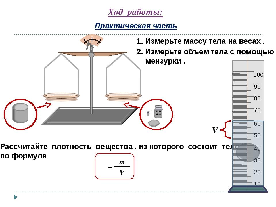 Ход работы: Практическая часть 1. Измерьте массу тела на весах . 2. Измерьте...