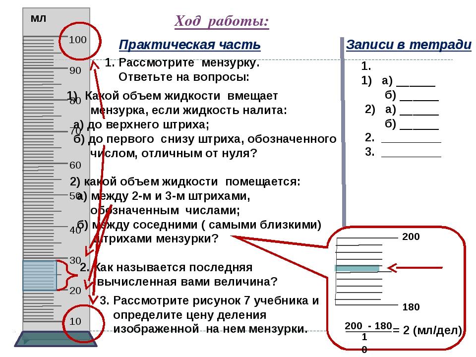 Ход работы: Практическая часть Записи в тетради 1. Рассмотрите мензурку. Отве...