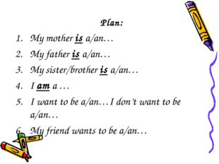 Plan: My mother is a/an… My father is a/an… My sister/brother is a/an… I am a