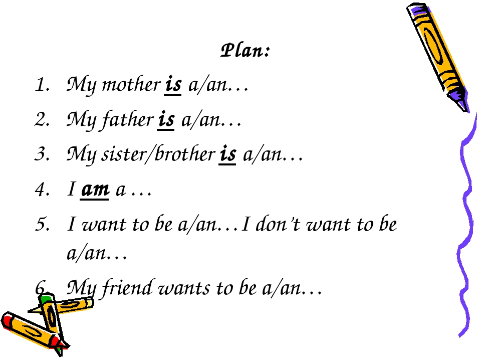 Plan: My mother is a/an… My father is a/an… My sister/brother is a/an… I am a...