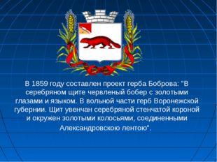 """В 1859 году составлен проект герба Боброва: """"В серебряном щите червленый бобе"""