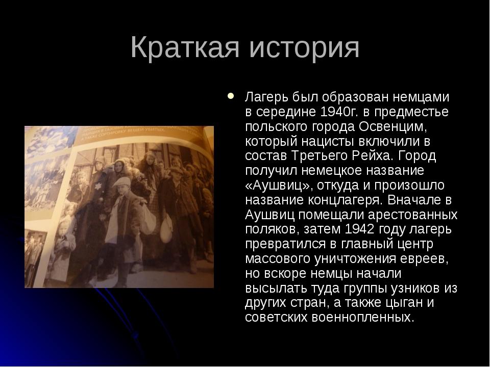 Краткая история Лагерь был образован немцами в середине 1940г. в предместье п...