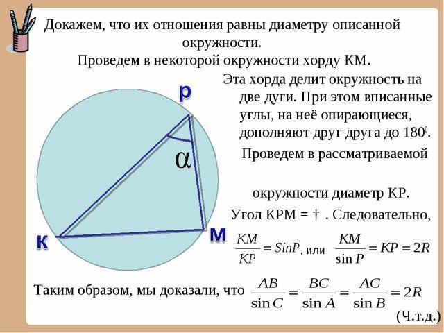 Докажем, что их отношения равны диаметру описанной окружности. Проведем в нек...