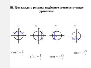 III. Для каждого рисунка подберите соответствующее уравнение А) Б) В) Г)