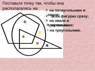 Поставьте точку так, чтобы она располагалась на: на пятиугольнике и овале; вс