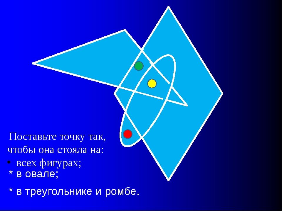 Поставьте точку так, чтобы она стояла на: всех фигурах; * в овале; * в треуг...