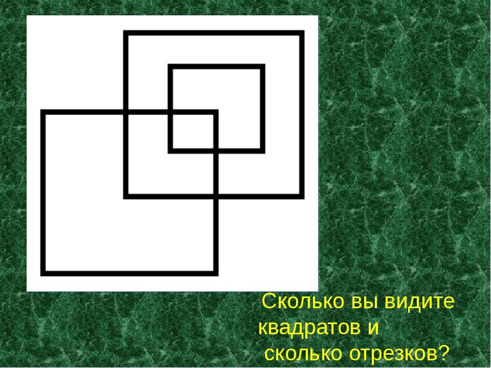 Сколько вы видите квадратов и сколько отрезков?