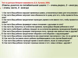 Тест на детскую Интернет-зависимость (С.А. Кулаков, 2004) Ответы даются по пя